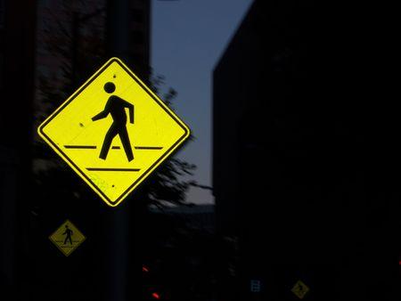 Flash reflection off crosswalk sign Banco de Imagens