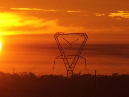 lines: Sunrise Behind Power Lines