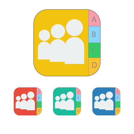 adress book: contact icon on the white background. Vector illustration.