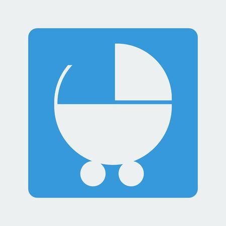 perambulator: buggy icon on the white background. Vector illustration.