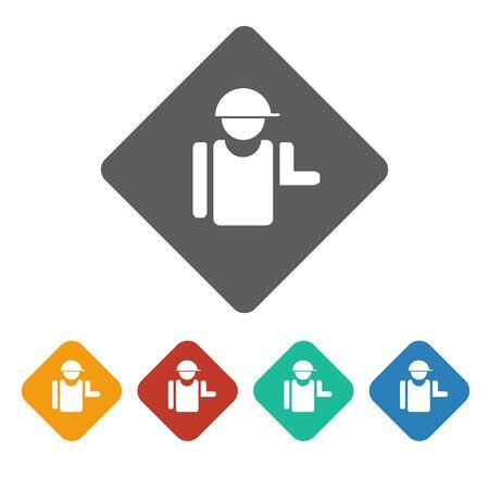 craftsperson: builder icon on the white background. Vector illustration. Illustration