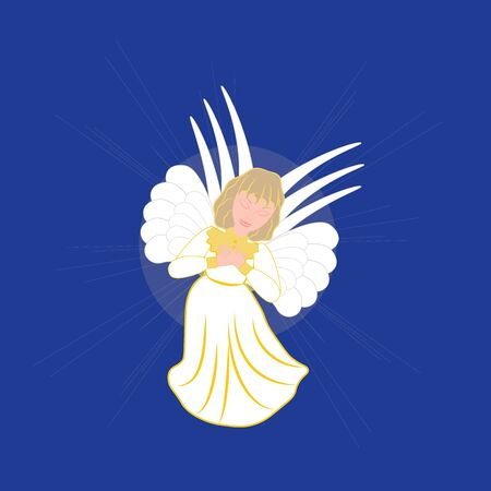 blu: Christmas Angel icon on the blu background. Vector illustration.