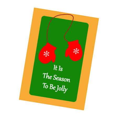 mittens: Christmas Greeting Card. Mittens on the green background. Vector illustration.