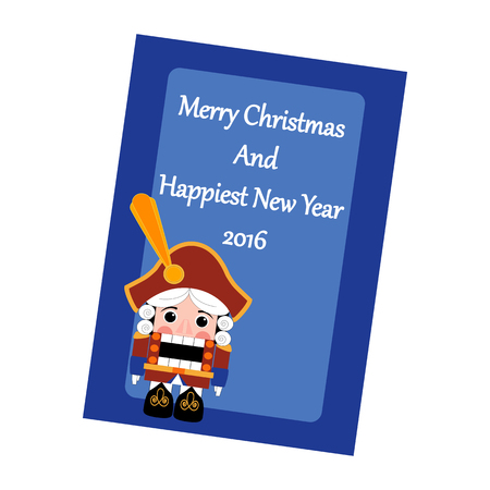 nutcracker: Christmas Greeting Card. The Nutcracker on the blue background. Vector illustration. Illustration