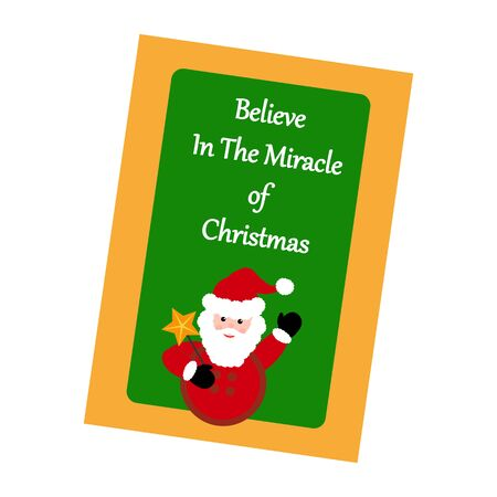 miracles: Christmas Greeting Card. Santa Claus on the green background. Vector illustration. Illustration
