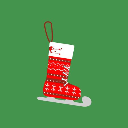 Christmas Stocking icon on the green background. Vector illustration.