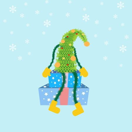 christmas tree illustration: Christmas Tree icon on the blue background. Vector illustration. Illustration