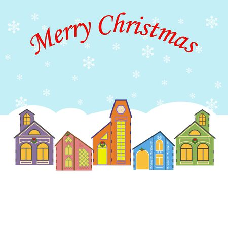 christmas village: Christmas Village on the blue background. Snow. Vector illustration Illustration