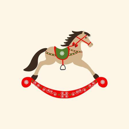 Rocking Horse icon on the yellow background. Vector illustration.