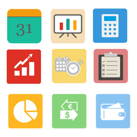 white backgroung: business. business set icon on the white backgroung. vector illustration.