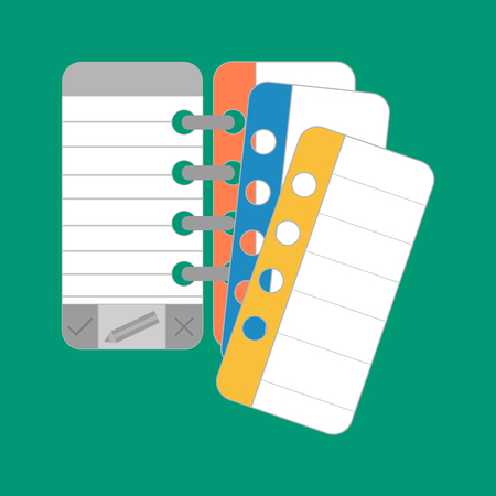 organizer: notebook. notebook icon on the green backgroung. vector illustration.