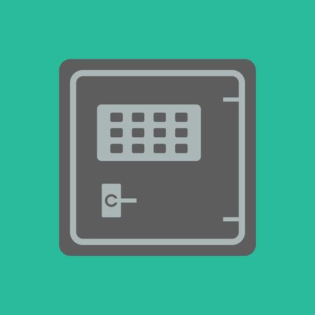 safeguards: safe. safe icon on the green background. vector illustration.