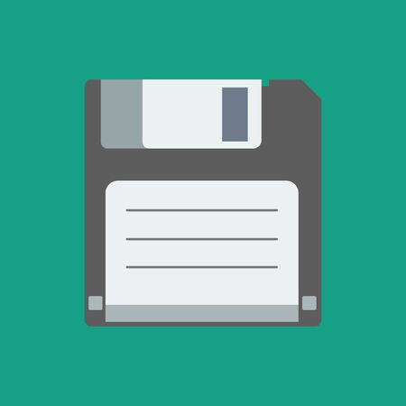 old pc: floppy disk. floppy disk icon on the green background. vector illustration.