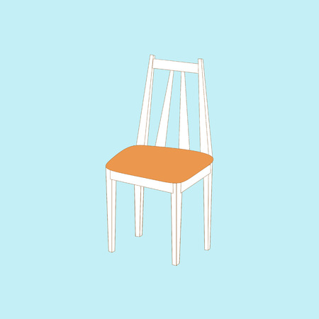 wooden stool: Kitchen chair icon on the blue background. Vector illustration