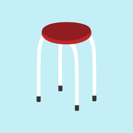 wooden stool: Kitchen chair icon on the blue background. Stool. Vector illustration