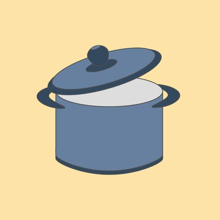 Pan icon on the yellow background. Saucepan, pot, kitchenware. Vector illustration