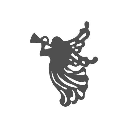 De Engel van Kerstmis pictogram op de witte achtergrond. Vector illustratie.