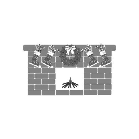 mantelpiece: Fireplace icon vector on the white background. Stocking. Mistletoe. Illustration