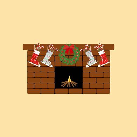 mantelpiece: Fireplace icon vector on the yellow background. Stocking. Mistletoe.