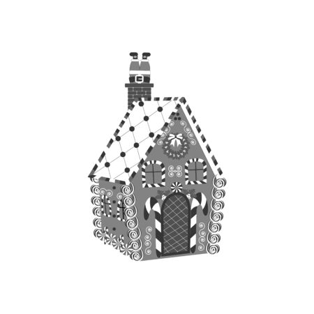 gingerbread house: Gingerbread House icon on the white background. Vector illustration.