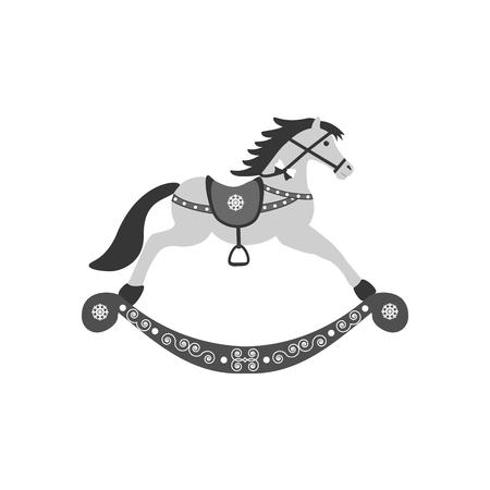 rocking: Rocking Horse icon on the white background. Vector illustration. Illustration