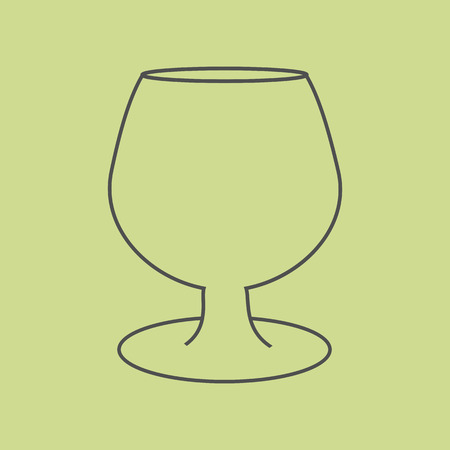 cognac: Brandy Cognac Glass on the green background. Vector illustration