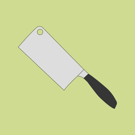 cleaver: Cleaver knife icon on the green background. Vector illustration