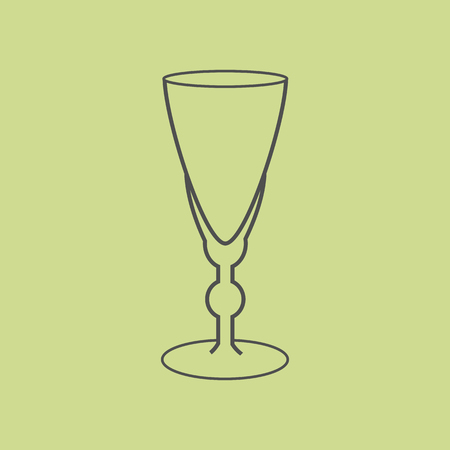 vermouth: Sherry vermouth glass on the green background. Vector illustration