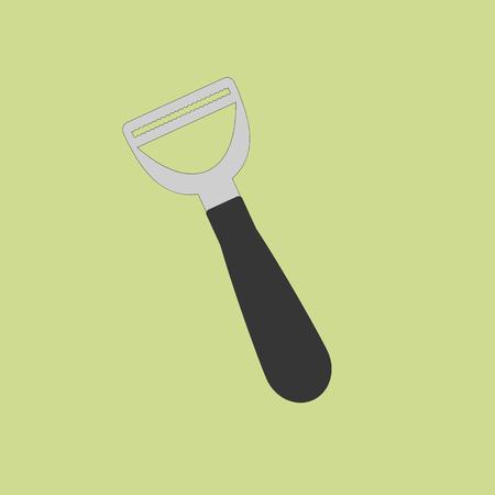 peeler: Vegetable fruit peeler on the green background. Vector illustration
