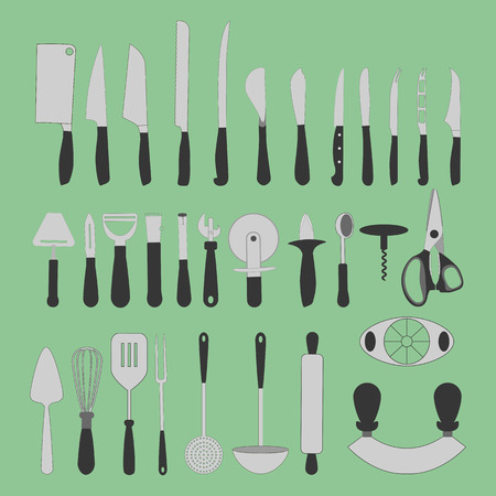 masher: Cutlery Icons Set on the green background. Knife icon. Vector illustration