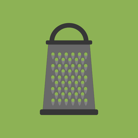 grater: Kitchen Grater Vector Icon on the green background. Vector illustration Illustration