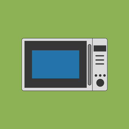 microwave ovens: Microwave Oven Icon on the green background. Vector illustration Illustration