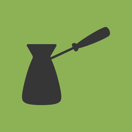 cezve: Turkish Coffee Pot Cezve Icon. Vector illustration