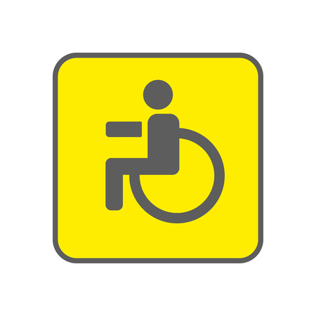 physical impairment: Disabled Person vector icon. Man on wheelchair on the yellow background. Handicapped person sign