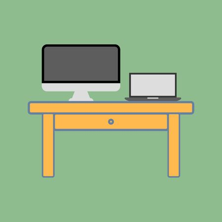working place: Working place vector illustration, office desk. Table, pc computer, monitor, notebook computer