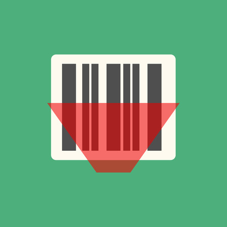 laser tag: Barcode icon vector illustration. Bar code tag, sticker. Bar code scanning with laser beam.