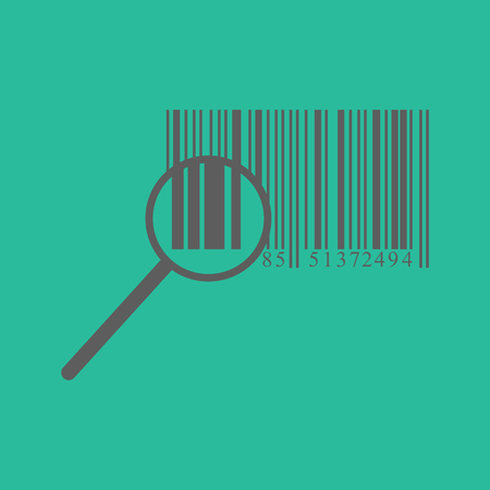 ide: barcode. barcode icon on the green background. vector illustration