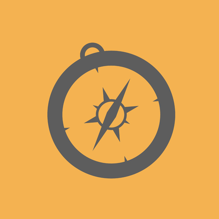 compass. compass icon on the yello background. vector illustration