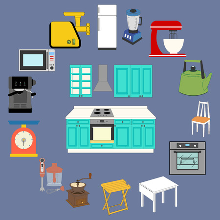 Kitchenware Icons Set on the blue background. Vector illustration
