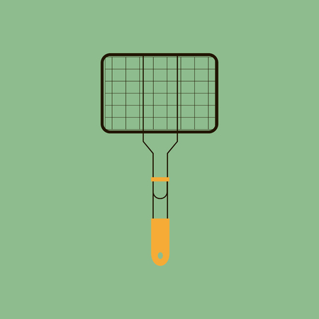 grate: BBQ Grill Grate on the green background. Vector illustration