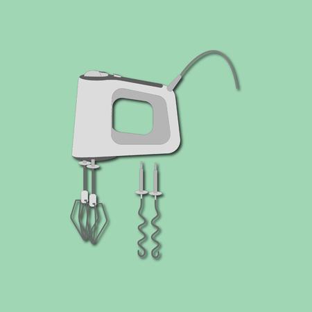 utensilios de cocina: Mezclador del icono del vector en el fondo verde. Batería de cocina. Utensilios de cocina. ilustración vectorial