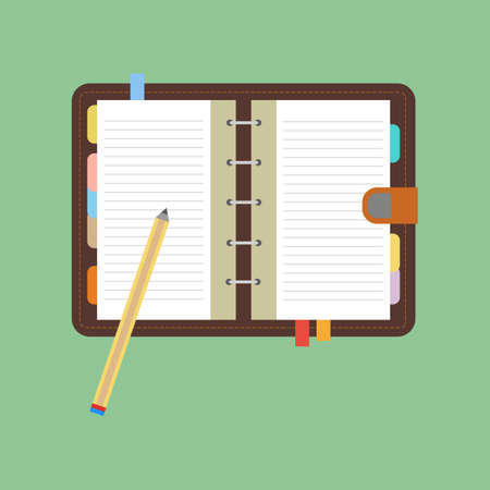 open notebook: Notebook icon vector. Open notebook with white page. Pen. Pencil. Vector illustration