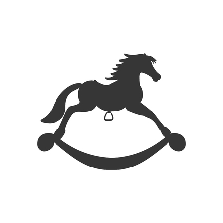 Rocking Horse Icon silhouette on the white background. Vector illustration