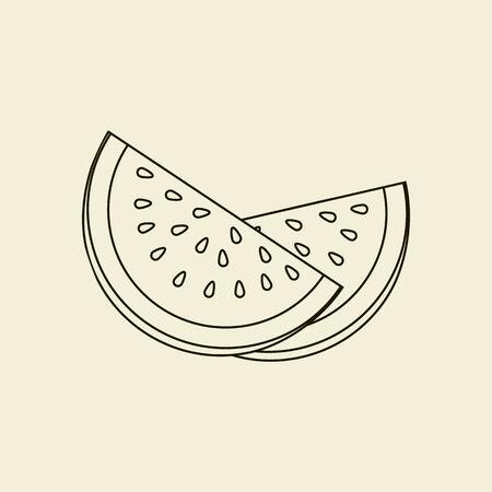 fruit tree: Watermelon Fruit Icon. Vector illustration Illustration