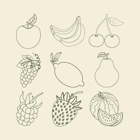 dewberry: Fruit Icons Set. Apple. Cherry. Watermelon. Banana. Lemon. Strawberry. Grapes. Pear. Raspberry