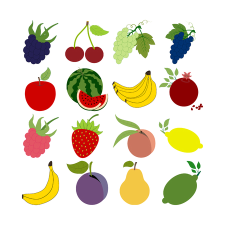 dewberry: Fruit Icons Set. Apple. Cherry. Watermelon. Banana. Lemon. Strawberry. Grapes. Plum. Pear. Illustration