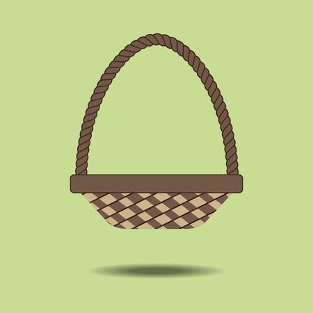 wicker: Wicker Basket Icon on the green background. illustration Illustration