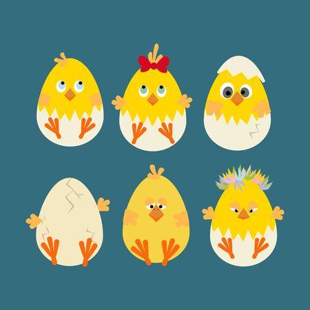 chick: Easter Chicken Icon. Egg. Chick. illustration Illustration