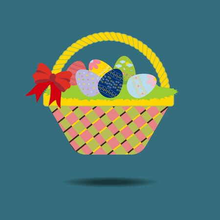 grass weave: Easter Basket with eggs and ribbon. illustration