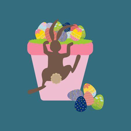 grass weave: Easter Basket with eggs. Easter Rabbit. illustration